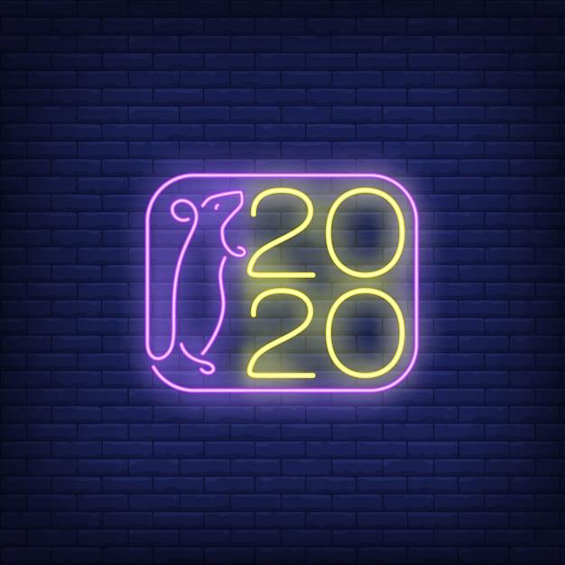 Deux mille vingt nouvel an enseigne au néon Vecteur gratuit