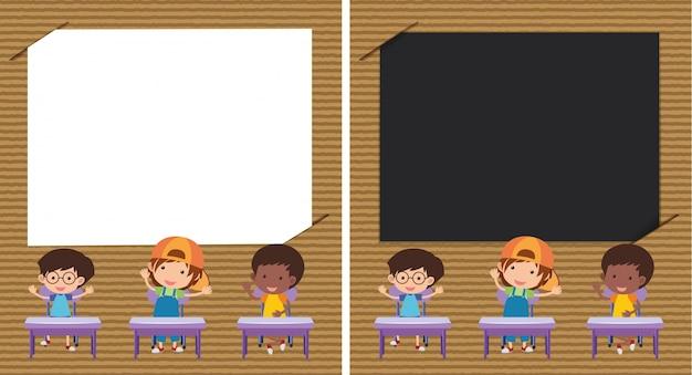 Deux Modèle De Papier Avec Des Enfants Dans La Salle De Classe Vecteur Premium