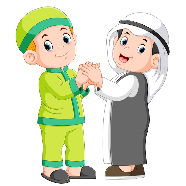 Deux musulmans et son meilleur ami se serrant la main Vecteur Premium