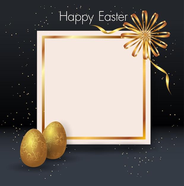 Deux oeufs de pâques dorés, cadre, fond noir et confettis en or. Vecteur Premium