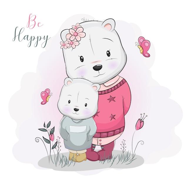 Deux ours mignons de dessin animé dans le champ de la fleur Vecteur Premium