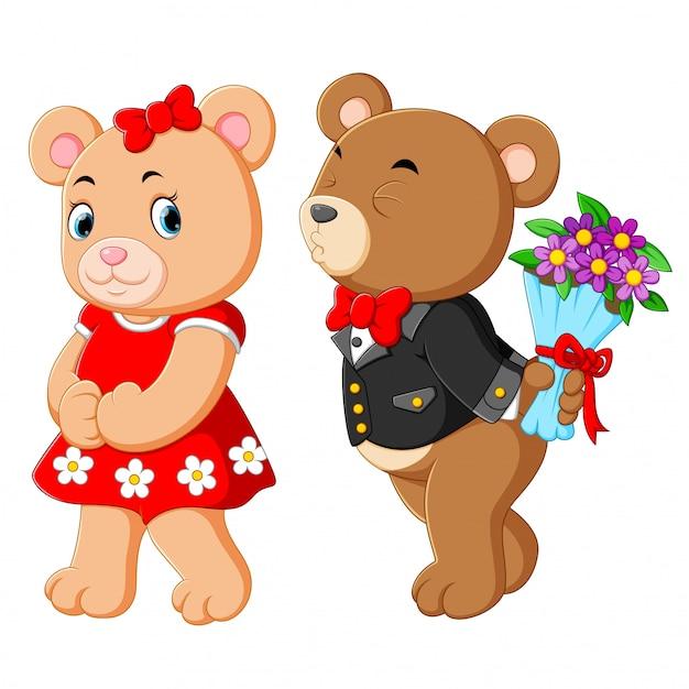 Deux ours mignons utilisant le meilleur costume Vecteur Premium