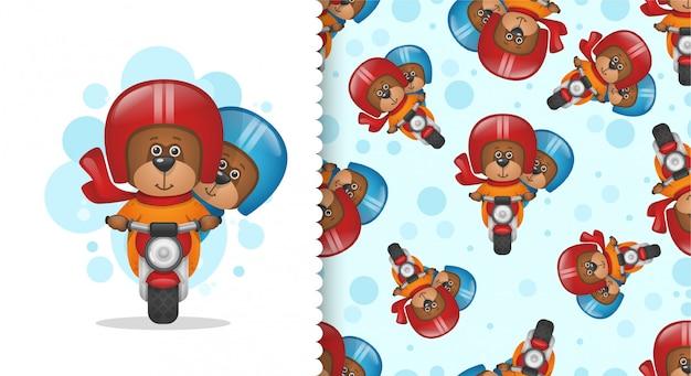 Deux ours en peluche sur une moto Vecteur Premium
