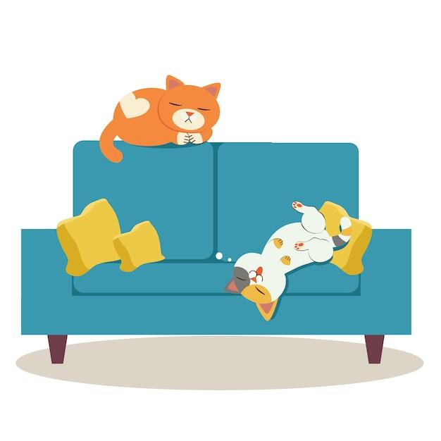 Les deux personnages du chat dormant sur le canapé et ils ont l'air relaxant Vecteur Premium