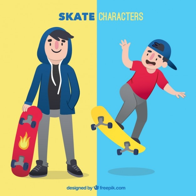 Deux personnages de skate Vecteur gratuit