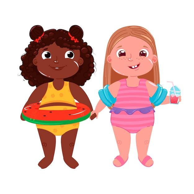Deux petites filles sur la plage Vecteur gratuit