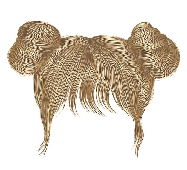 Deux Poils Chignons Aux Franges Blondes. Style De Beauté De La Mode Des Femmes. Vecteur Premium