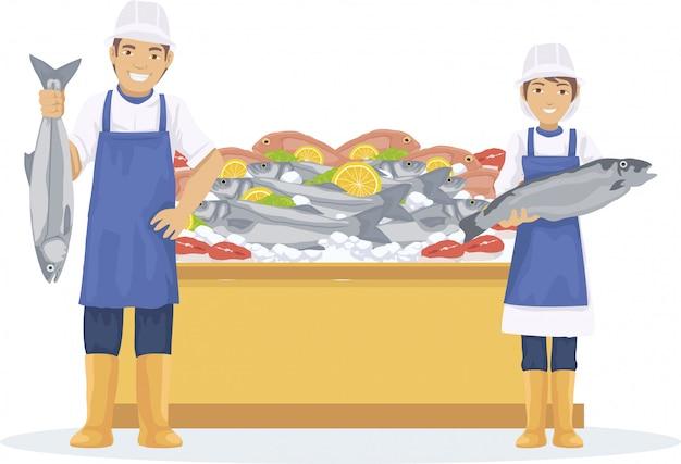 Deux poissonniers vendent du poisson frais au marché Vecteur Premium