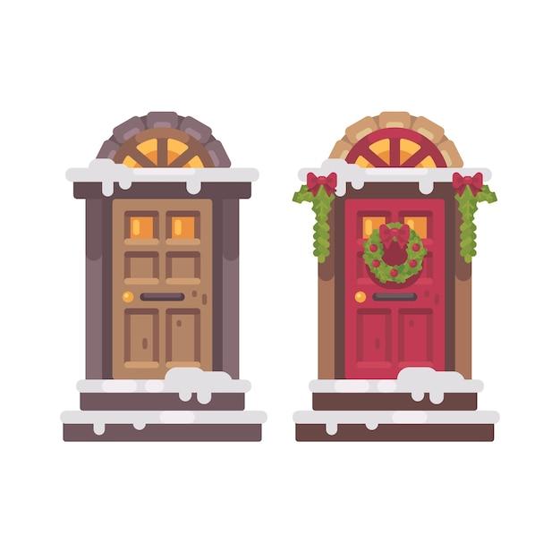 Deux portes d'hiver. illustration de plat décoré porche de noël Vecteur Premium