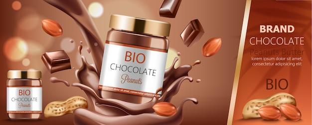 Deux Pots Remplis De Chocolat Aux Arachides Entouré De Noix Et D'éclaboussures Vecteur gratuit