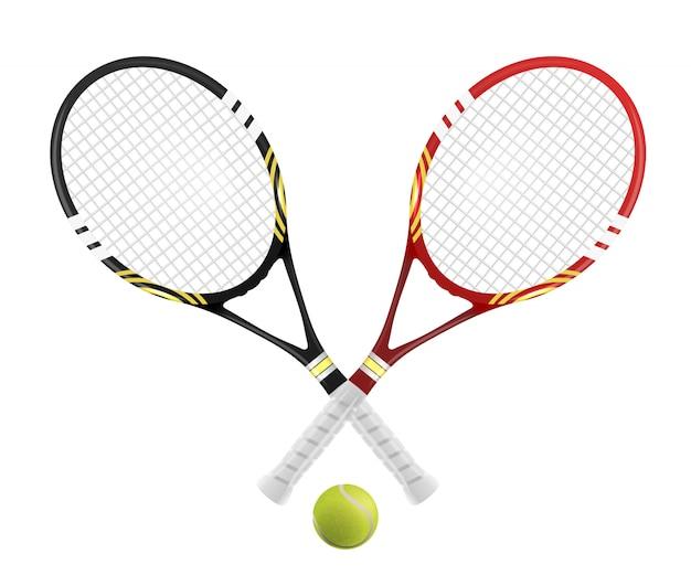 Deux raquettes de tennis et balle Vecteur Premium
