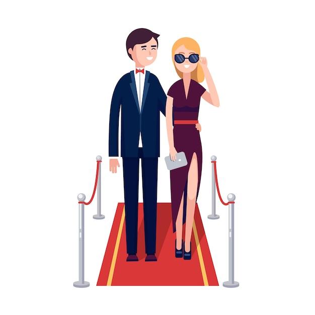 Deux riches célébrités qui marchent sur un tapis rouge Vecteur gratuit
