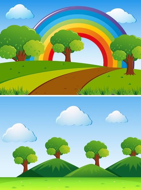 Deux scènes avec des arbres verts sur le terrain Vecteur gratuit