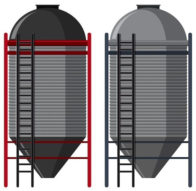Deux silos avec des échelles Vecteur Premium