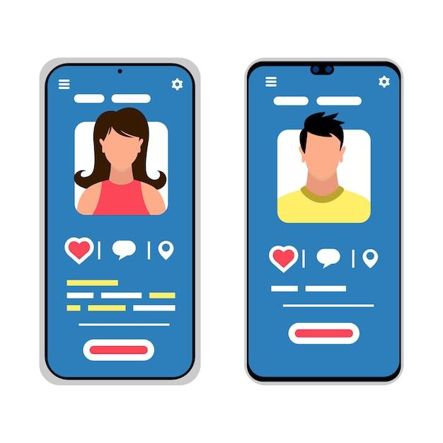 Deux smartphones avec des silhouettes masculines et féminines. médias sociaux, messagerie mobile, applications de rencontre, réunion, communication, apprentissage. icônes de dessin animé sur fond blanc. Vecteur Premium