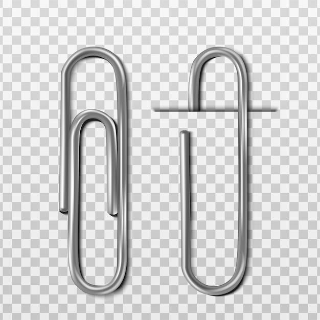 Deux Trombones Métalliques Réalistes Avec Et Sans Papier Vecteur gratuit