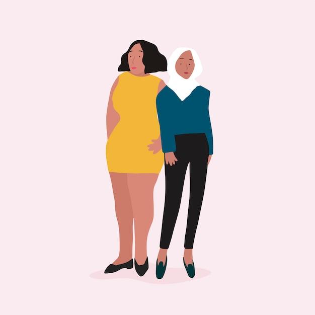 Deux vecteur de femmes indépendantes diverses Vecteur gratuit