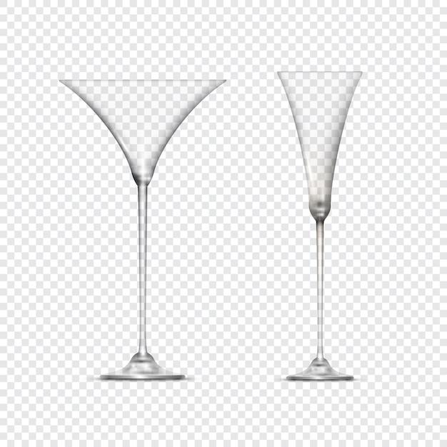 Deux verres à pied vides transparents Vecteur Premium