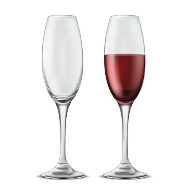 Deux verres à vin, vides et pleins de vin rouge, illustration réaliste 3d Vecteur gratuit