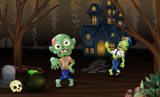Deux zombies en plein air avec fond de maison hantée Vecteur Premium