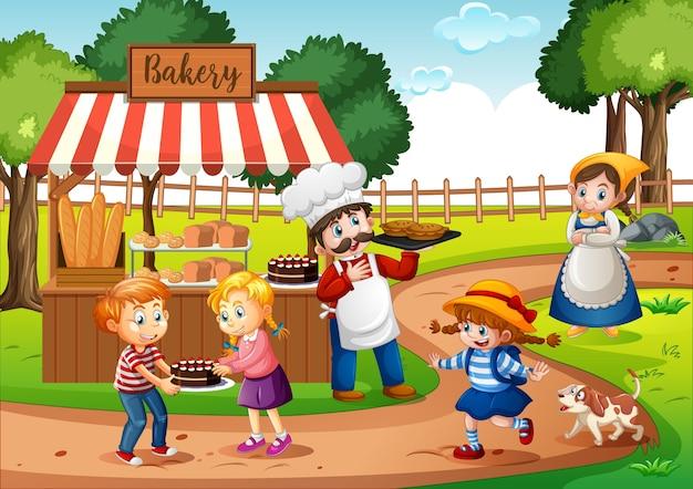 Devant La Boulangerie Avec Boulanger Dans La Scène Du Parc Vecteur gratuit