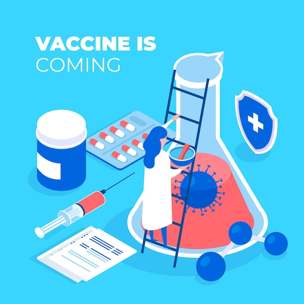 Développement D'un Antidote Anti-coronavirus Isométrique Vecteur gratuit