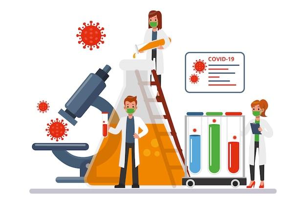 Développement D'antidotes Contre Les Coronavirus Avec Des Chercheurs Vecteur gratuit