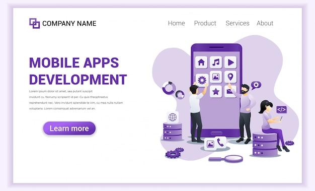 Développement d'applications mobiles pour le modèle de page de destination. Vecteur Premium