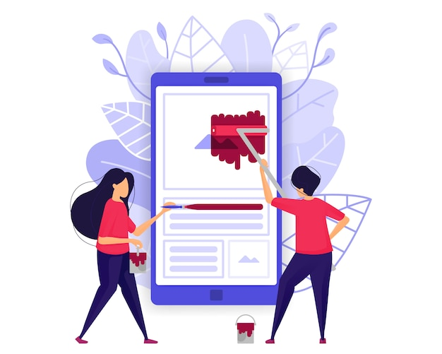 Développement d'applications mobiles. Vecteur Premium