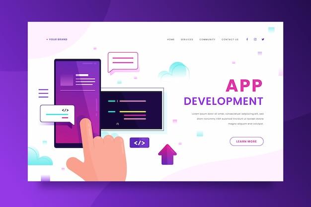 Développement D'applications - Page De Destination Vecteur gratuit