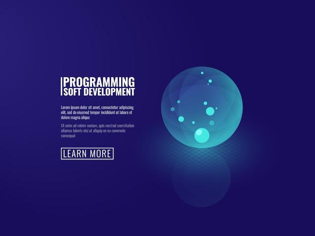 Développement de concept de nouvelles technologies icône boule lumineuse transparente Vecteur gratuit