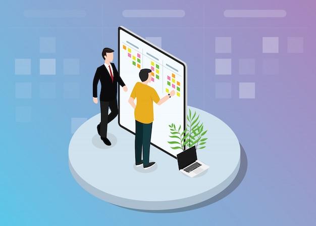 Développement d'équipe scrum agile avec des notes autocollantes sur l'illustration vectorielle conseil Vecteur Premium