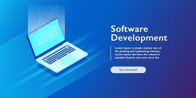 Développement de logiciels Vecteur Premium