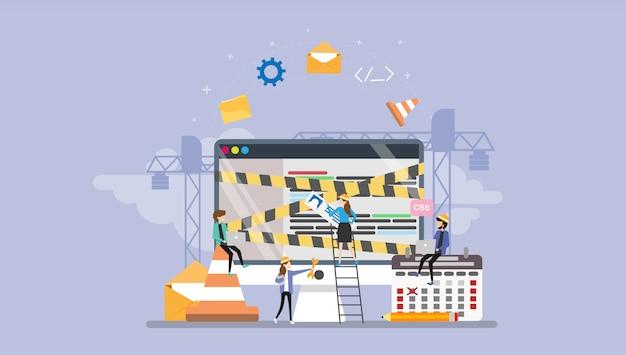 Développement web en construction page caractère tiny people Vecteur Premium