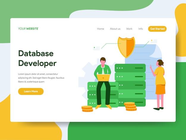 Développeur de base de données illustration concept. page de destination Vecteur Premium