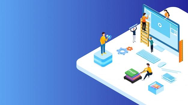 Les développeurs web miniatures gèrent le site web. Vecteur Premium