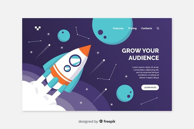 Développez votre page d'atterrissage de fusée d'audience Vecteur gratuit