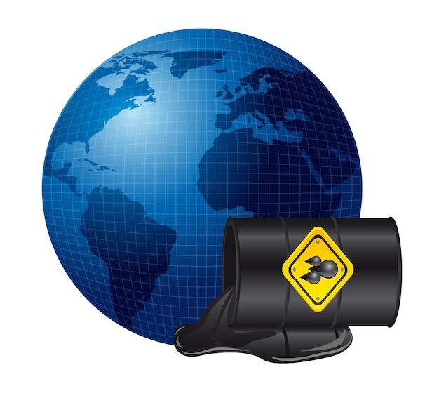 Déversement de pétrole sur la planète Vecteur Premium