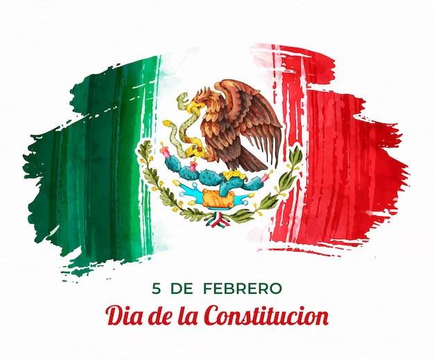 Día De La Constitución Avec Drapeau Aquarelle Vecteur gratuit