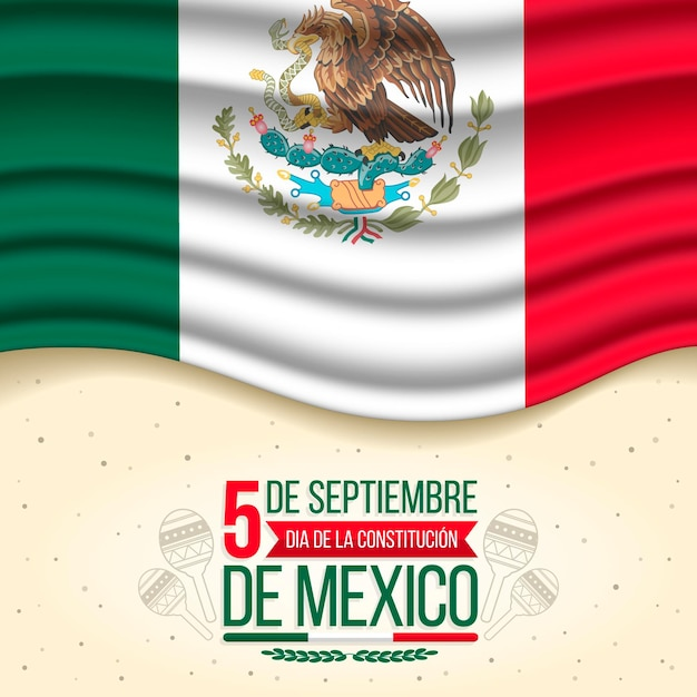 Día De La Constitución Avec Drapeau Réaliste Vecteur Premium