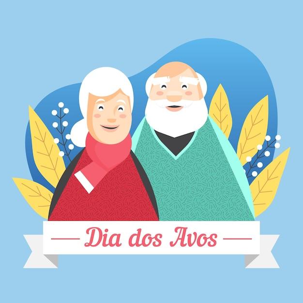 Dia Dos Avós Avec Les Seniors Vecteur gratuit