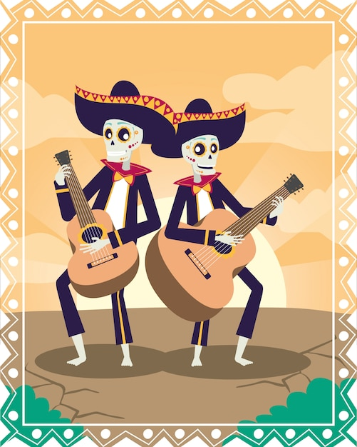 Dia de los muertos carte avec des crânes de mariachis jouant de la guitare Vecteur Premium