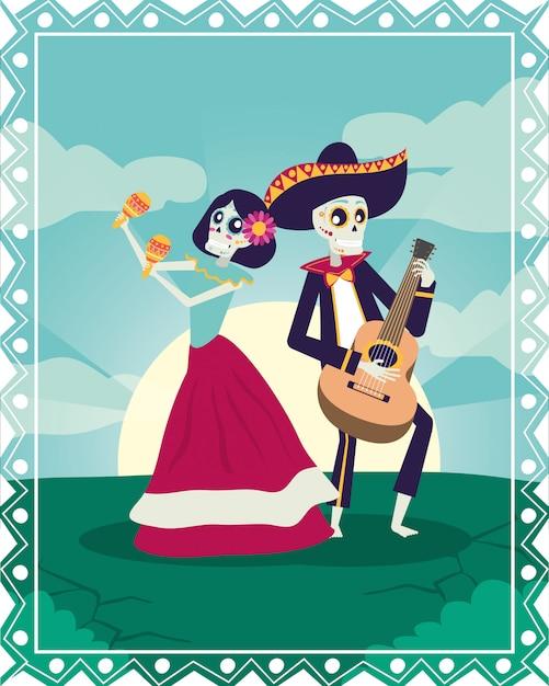 Dia de los muertos carte avec mariachi jouant de la guitare et de la catrina Vecteur Premium