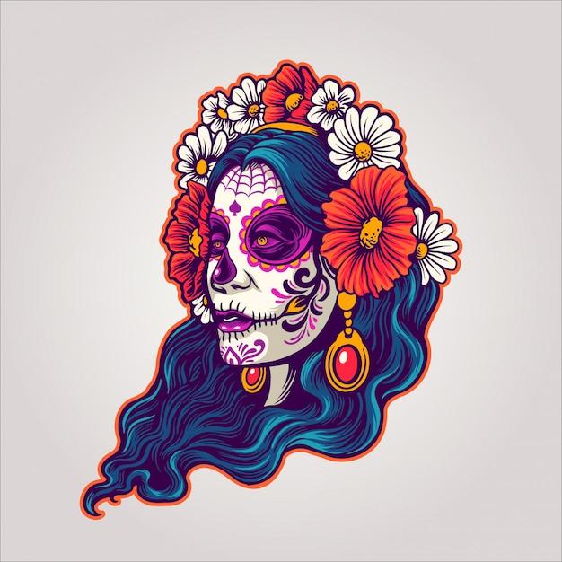 Dia de los muertos fille et fleur Vecteur Premium
