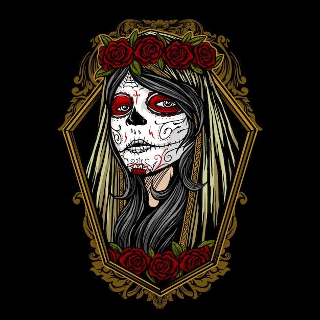 Dia de los muertos fille maquillage Vecteur Premium