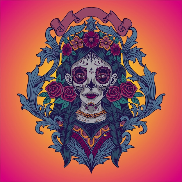 Dia de los muertos. illustration de la catrina mexicaine Vecteur Premium