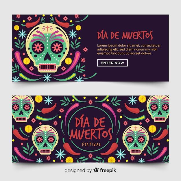 Día de muertos bannières avec des crânes Vecteur gratuit