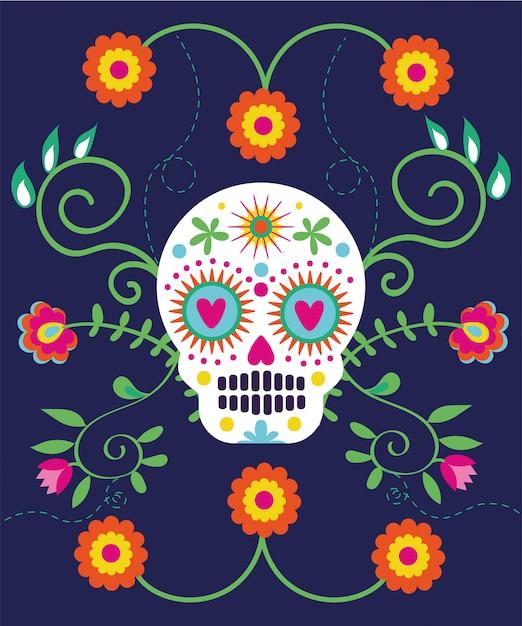 Dia de muertos carte avec crâne et fleurs Vecteur gratuit