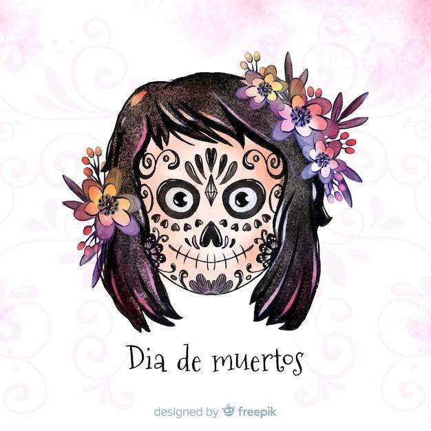 Dia de muertos concept avec fond aquarelle Vecteur gratuit