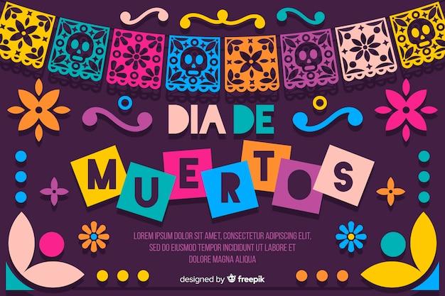 Día de muertos concept avec fond design plat Vecteur gratuit